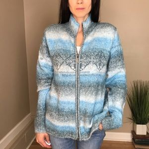 Columbia Blue Fair Isle Zip up Sweater Jacket